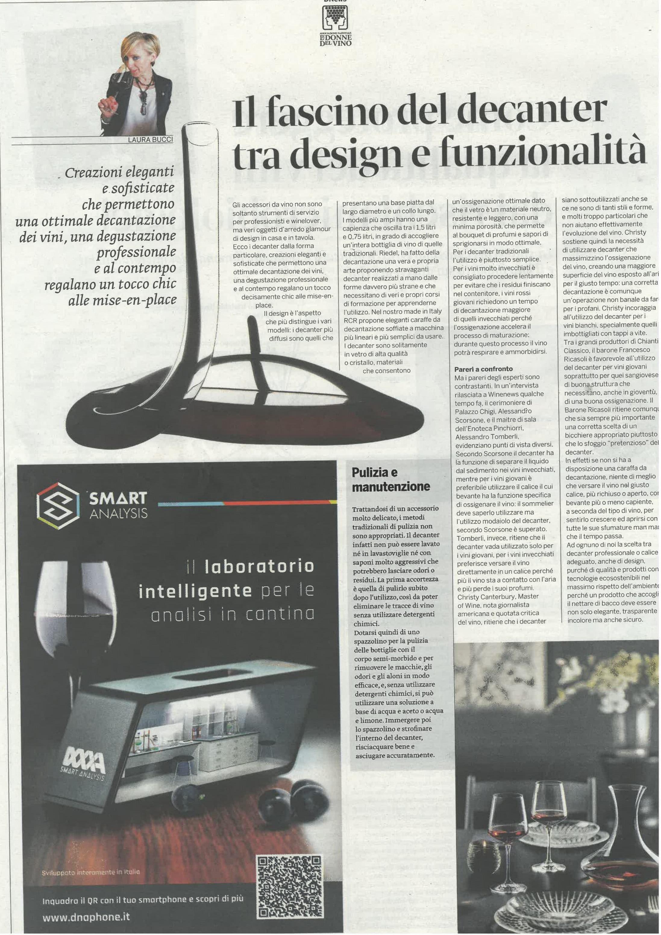 Articolo DNEWS Il decanter tra design e funzionalità, luglio 2019